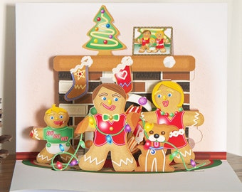 Pop up Gingerbread Family card Merry Christmas card
