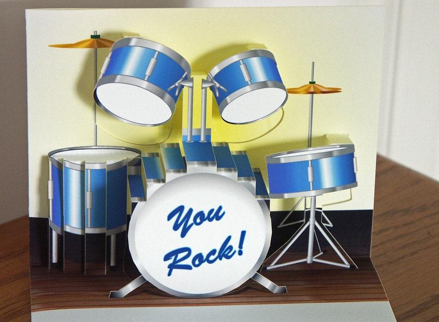Pop up Blue Drum set Birthday Card You Rock – Set of Birthday Cards