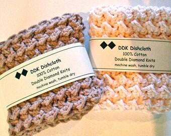 Dishcloths or Washcloths, set of 2 100% cotton 'camomile tea' DDK Crochet