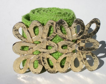 Chartreuse Knit Belt with Gold Loopy Metal Buckle -  Vintage Belt - 1960s to 1970s style - vintage accesory