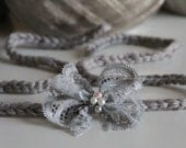 Gray lace bow with pearls tie back headband