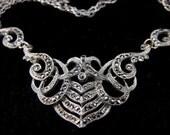 Rhinestone Marcasite Piercedwork Necklace Silver Chain 25.00 obo