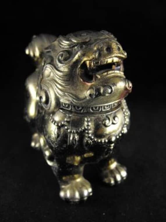 Buddhist FOO DOG Incense Burner RITUAL Religious Item Temple Guardian