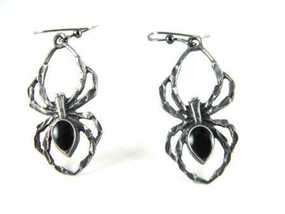 Vintage EARRINGS Sterling Silver Onyx Spiders 20.00 obo