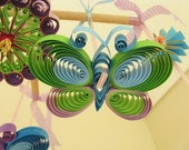 Crib Mobile - Baby Mobile -  Crib Mobiles Quilled Quilling - Baby Mobile Butterflies - Baby Mobiles - Quilling - Purple Mobile 6B.