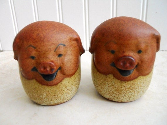 Wee Little Happy Pigs Salt and Pepper Shakers.