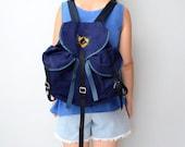 Vintage Navy blue canvas backpack // rucksack