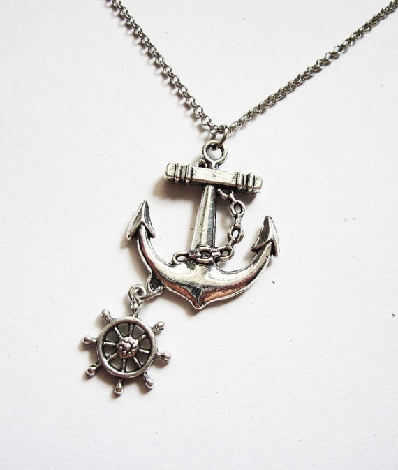 Anchor necklace nautical jewelry sea necklace beach like this item aloadofball Images