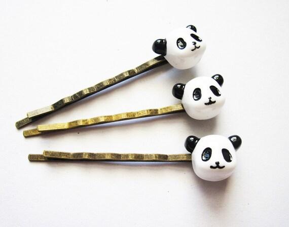 Panda hair pins, Panda bobby pins, Panda Accessories, hair accessories, hair pin set, animal hair pin, animal bobby pin set, resin cabochon