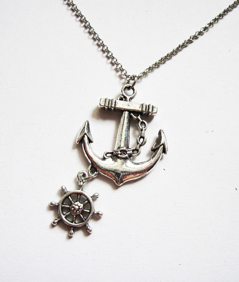 anchor necklace nautical jewelry sea necklace