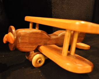Wooden Toy Plane - Biplane - Walnut, Cherry and Maple