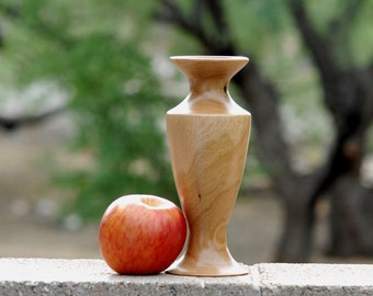 "Bud Vase of Reclaimed Oak wood 8"" tall & 3 1/4"" diameter"