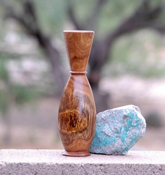 """Bud Vase of Reclaimed Mesquite wood 9 1/4"""" tall & 2 3/4"""" diameter"""