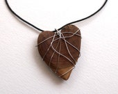 """Wooden Heart Necklace Wrapped in Silvertone Wire on Black Cord, """"Up-cycled"""" jewelry"""