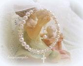 Swarovsk white pearl crystal newborn baby girls Childrens christening baptism flowergirl First Communion adjustable Bracelet