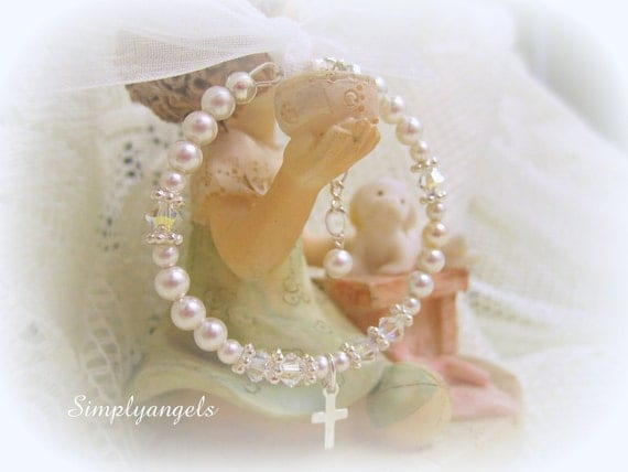 Free Ship-Swarovski white pearl crystal newborn baby girls Childrens christening baptism flowergirl First Communion adjustable Bracelet