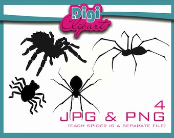 Realistic Spider Silhouette Halloween Clip Art - INSTANT DOWNLOAD