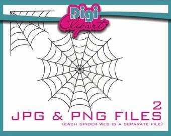 Spider Web Halloween Clip Art (W1 Thin) - INSTANT DOWNLOAD