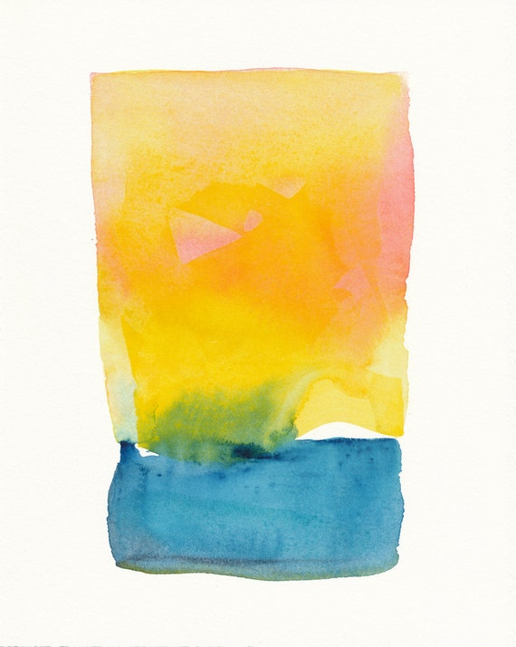 yellow and pink mingles with blue small original watercolor painting