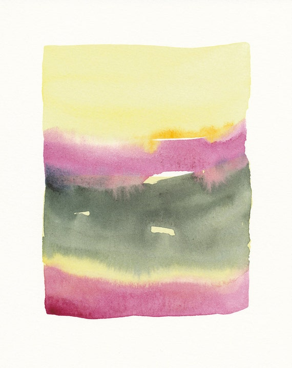 small original watercolor painting, violet to yellow to green - grey, color bands blending