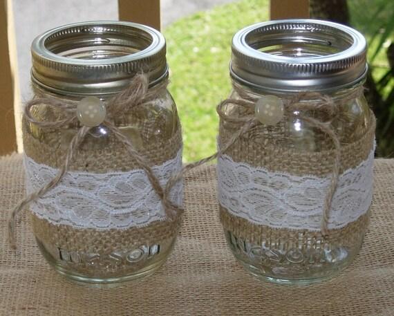Set of 2   Burlap and Lace Mason Jar candle holders   rustic vase wedding centerpiece table decor
