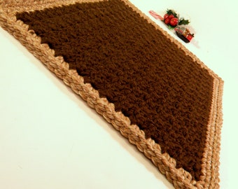 Travel Pet Bed,  Small Pet Rug, Crochet Cat Mat, Thick Handmade Bath Mat Crocheted in Brown with Tan