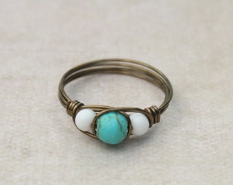 Beaded ring in turquoise and white, antique brass wire wrapped, any size, more colors available