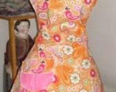 Retro 60's Groovy Retro Bib diner apron Orange Peacock Made to order Plus sizes too