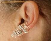 Silver beaded earcuffs