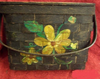 Purse,Wooden purse, hinged lid, 1980, painted, yellow flowers, Sewing basket, knitting, flowers,