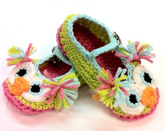 Toddler Made to order Crochet Owl Mary Jane Slippers :)