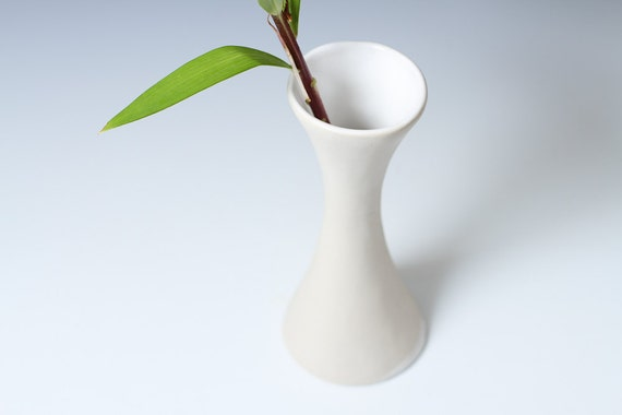 25% off: Porcelain White Hourglass Flower Bud Vase - Cone 10 Pottery Ceramic - ready to ship