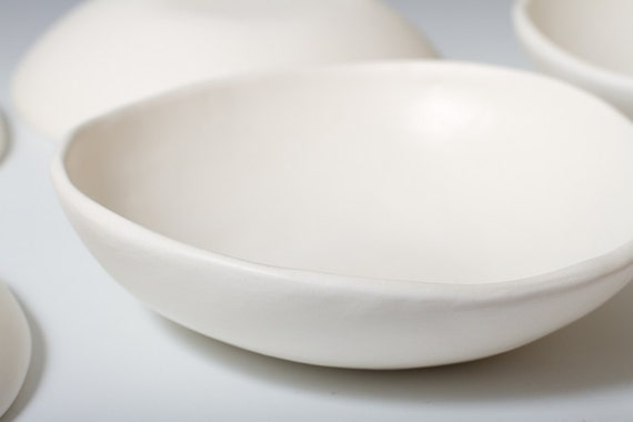 Matte White Pottery Bowl 7 Inches Ceramic The Perfect Snack