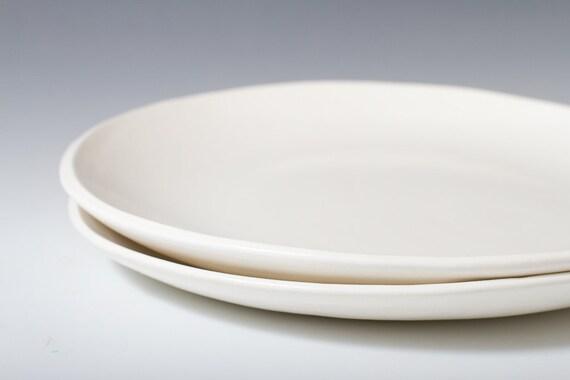 10 75 Large Handmade Satin White Dinner Plate Ceramic