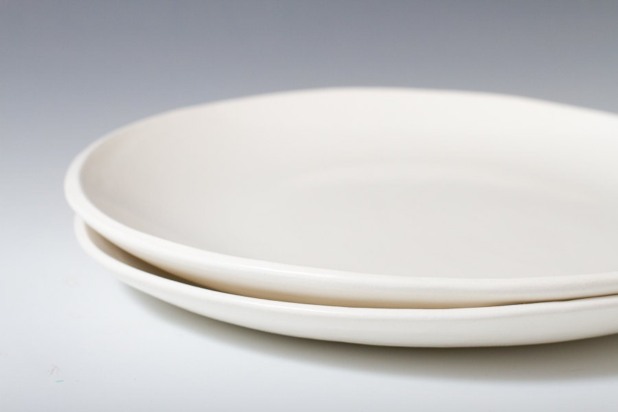large handmade satin white dinner plate ceramic