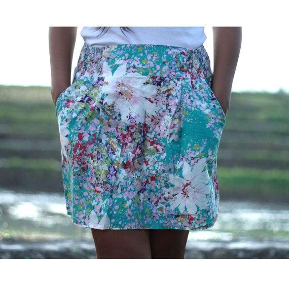Turquoise Floral Mini Shirred Skirt with 2 side pockets