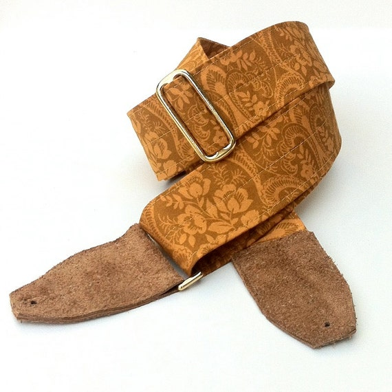 Guitar Strap in Gold Hawaiian Print, Comfortable and Adjustable with Brass Hardware and Suede Leather Ends