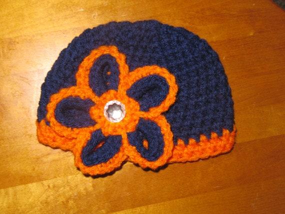 Items similar to Crochet Chicago Bears Flower Football Hat ...