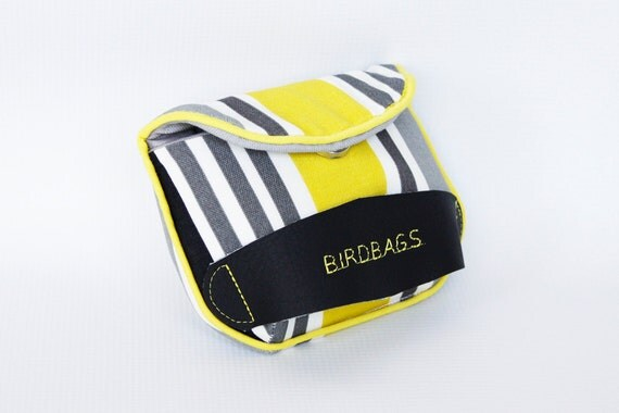"Mini Clutch - Birdbags ""Dove Mini"" Yellow, Grey, Black and White Striped - Vegan Friendly - FREE SHIPPING"