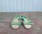 80s Pastel Green Leather Sandals SZ 8 - slatevintager