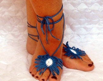 Decorating for the feet. Barefoot sandals. Crochet. Anklet. For the home, the beach, yoga, summer.