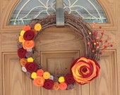 Rustic Fall Wreath -- Autumn Wreath--Thanksgiving Wreath--Fall Door Decor-Fall Decoration-14 inch Grapevine and Felt Flower Wreath