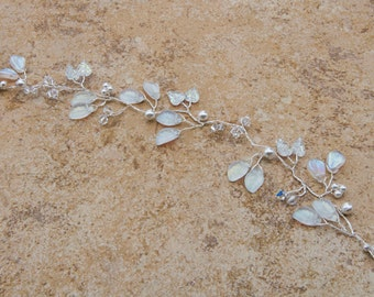 White Wedding Hair Vine with Leaves Pearls and Clear Crystals, Bridal Hair Vine,  Wedding Hair Accessories, Rustic Wedding, HV102