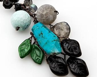 Blue Pendant Necklace, Multi Gemstone Necklace, Nature Jewelry
