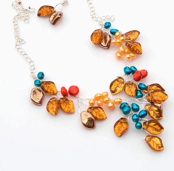 Turquoise Orange Beaded Necklace, Leaf Necklace, Nature Inspired Jewelry, Fall Fashion