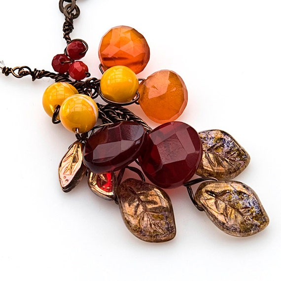 Fall Jewelry, Gemstone Leaf Necklace with Carnelian Ruby Quartz and Coral, Nature Jewelry, Item N283