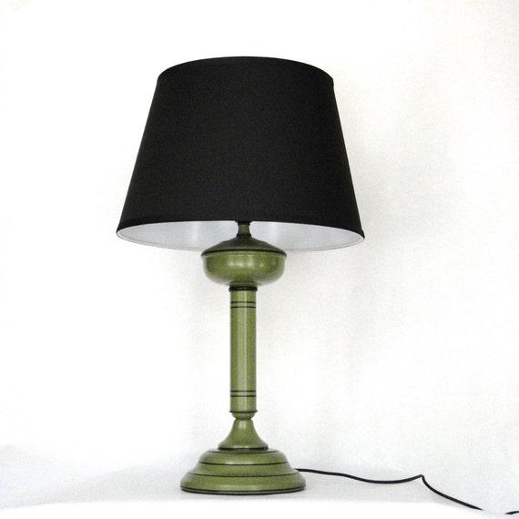 Vintage Lamp Retro Metal Avacado Green Black Stripe Lighting Turn Key Switch Early American Inspired Lighting Industrial Chic Lamp