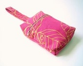 RESERVED Fuchsia Pink Leash Bag with Yellow Leaves for  hisblueyed0ll's