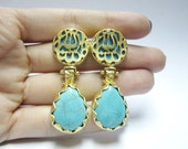 MashaAllah Earrings with Drop Turquoise Gemstone Stud 18k Gold Plated