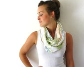 Up-cycled Floral Circle Scarf - Pastel Flowers - Winter Fashion Accessory - Floral Infinity Scarf - Loop Scarf- White Scarf